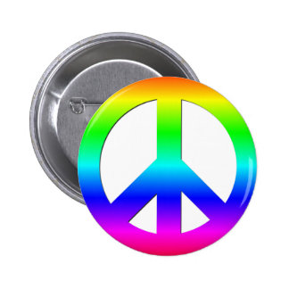 Bright Neon Rainbow CND Peace Symbol on White 6 Cm Round Badge