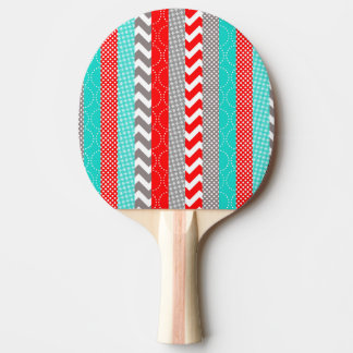 Bright Neon Red and Teal Geo Stripes Ping Pong Paddle