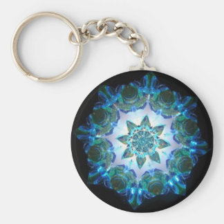 Bright Neon Starburst Kaleidoscope in Blue Key Ring