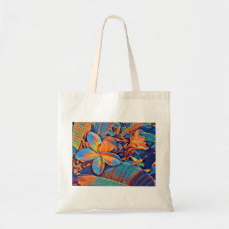 Bright neon tropical flower tote