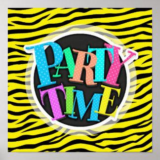 Bright Neon Yellow and Black Animal Print Zebra