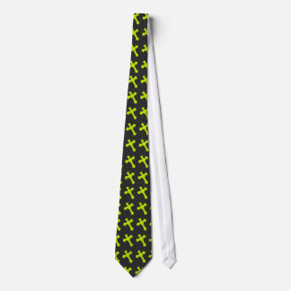 Bright Neon Yellow Crosses on a Black fabric Tie