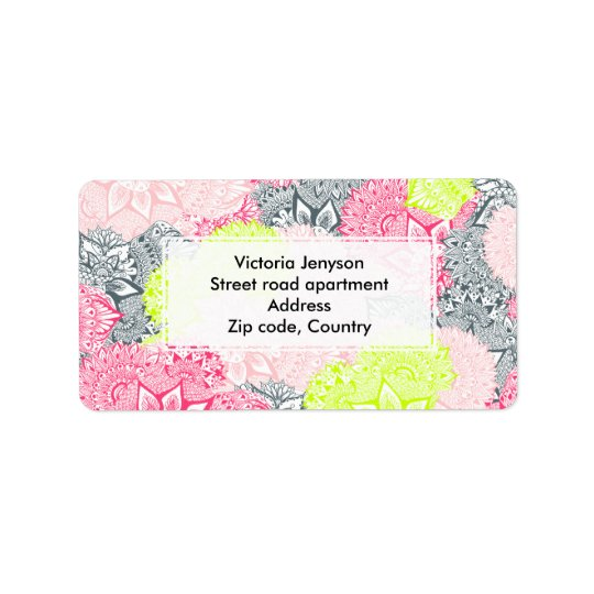Bright neon yellow henna floral paisley pattern address label