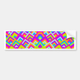 Bright Neons Zigzag Symmetric Peeks Pattern Bumper Sticker