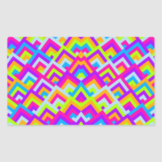 Bright Neons Zigzag Symmetric Peeks Pattern Rectangular Sticker