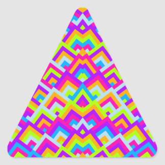 Bright Neons Zigzag Symmetric Peeks Pattern Triangle Stickers