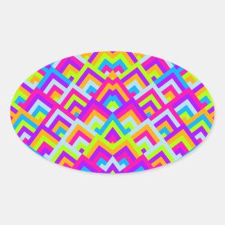 Bright Neons Zigzag Symmetric Peeks Pattern Oval Sticker