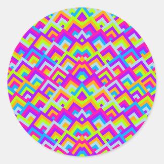 Bright Neons Zigzag Symmetric Peeks Pattern Round Sticker