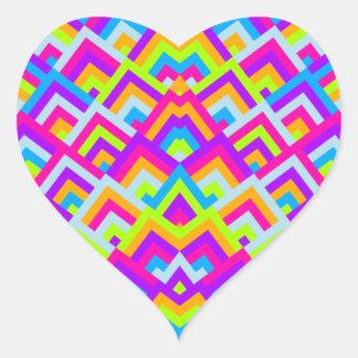 Bright Neons Zigzag Symmetric Peeks Pattern Heart Sticker