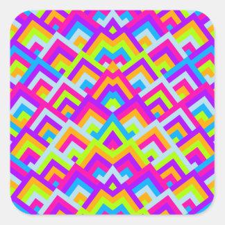 Bright Neons Zigzag Symmetric Peeks Pattern Square Stickers