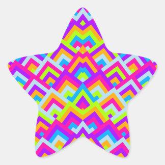 Bright Neons Zigzag Symmetric Peeks Pattern Star Stickers