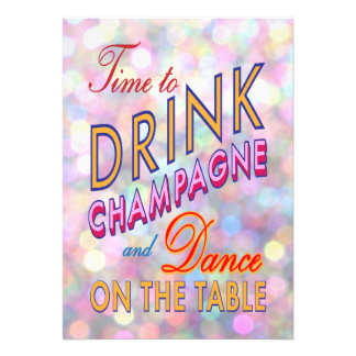 Bright New Year s Time to Drink Champagne Invite