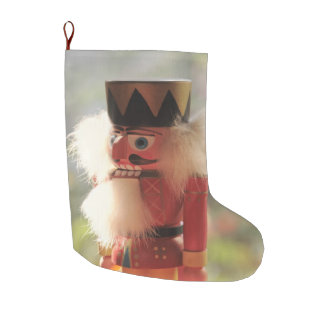 Bright nutcracker large christmas stocking