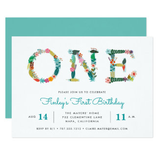 Bright One | First Birthday Party Invitation
