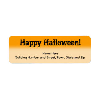 Bright Orange and Black Halloween Return Address Label