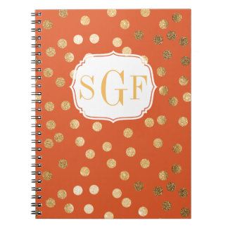 Bright Orange and Gold Glitter City Dots Spiral Notebook