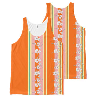 Bright Orange and Pink Orchid Floral Design All-Over Print Singlet