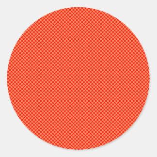 Bright Orange and Red Mini Polka Dots Pattern Round Sticker