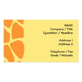 Bright Orange and Yellow Giraffe Print Pattern. Pack Of Standard Business Cards