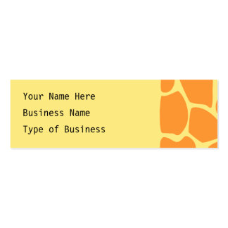 Bright Orange and Yellow Giraffe Print Pattern. Double-Sided Mini Business Cards (Pack Of 20)