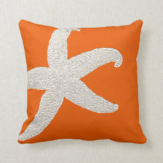 Bright Orange Big Starfish Decorative Throw Pillow