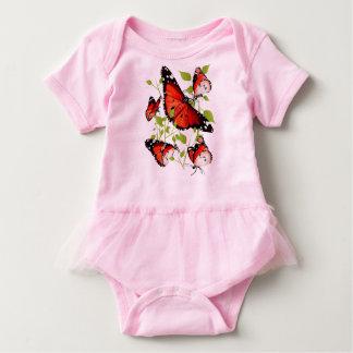 BRIGHT ORANGE BUTTERFLY BABY BODYSUIT