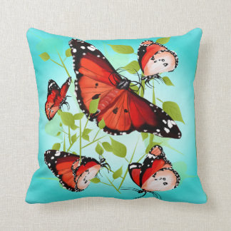 BRIGHT ORANGE BUTTERFLY CUSHION