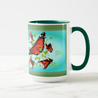 BRIGHT ORANGE BUTTERFLY MUG