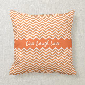 Bright orange chevron zigzag pattern custom pillow