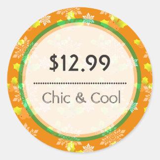 Bright Orange Christmas Snowflakes Price Tag Round Sticker