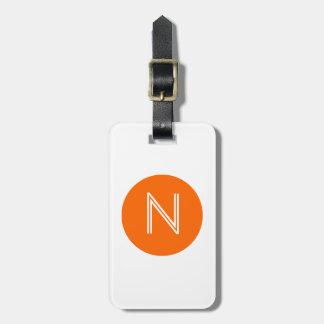 Bright Orange Circle Monogram Luggage Tag