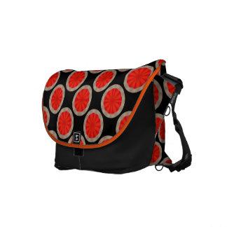 bright orange circle pattern messenger bags