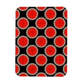 bright orange circle pattern rectangular photo magnet