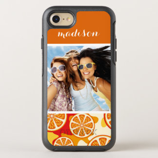 Bright Orange Citrus Pattern | Add Your Photo OtterBox Symmetry iPhone 8/7 Case