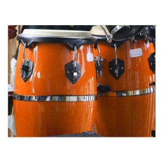 Bright orange conga drums photo postcard