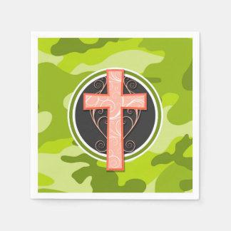 Bright Orange Cross; green camo, camouflage Paper Napkin