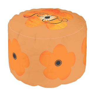 Bright  Orange Flowers Add Initials Pouf