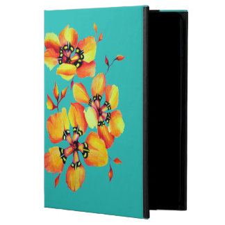 Bright Orange Flowers - Aqua iPad Air Case