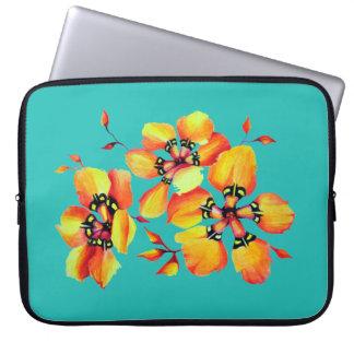 Bright Orange Flowers - Aqua Laptop Sleeve