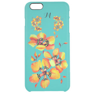 Bright Orange Flowers - Aqua- Monogram Clear iPhone 6 Plus Case