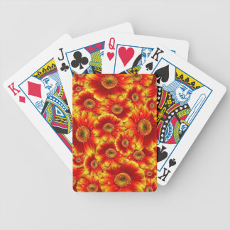 Bright Orange Flowers Bicycle Playing Cards