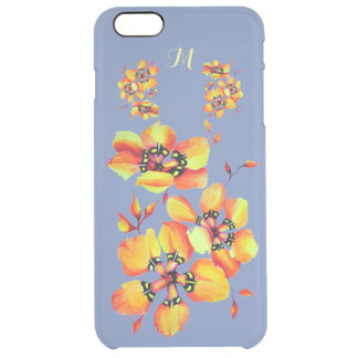 Bright Orange Flowers - Blue Grey - Monogram Clear iPhone 6 Plus Case