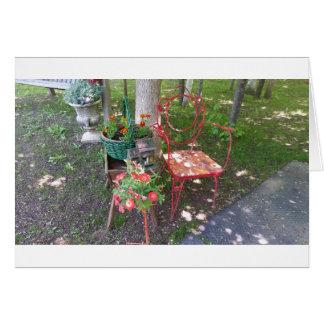 Bright orange garden chair card