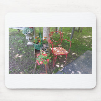 Bright orange garden chair mouse pad