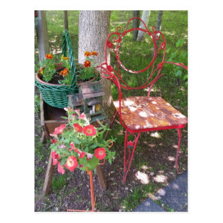 Bright orange garden chair postcard