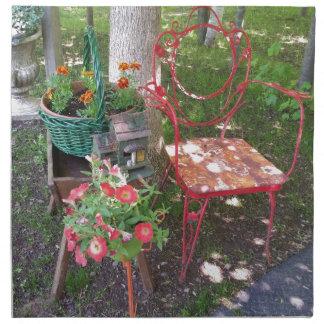 Bright orange garden chair printed napkin