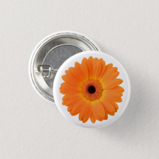Bright Orange Gerbera Daisy Flower 3 Cm Round Badge