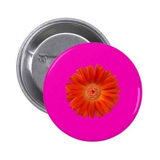 Bright Orange Gerbera Daisy on Hot Pink Pin