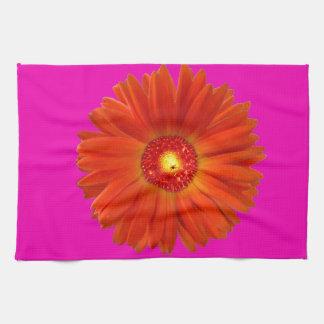 Bright Orange Gerbera Daisy on Hot Pink Towels