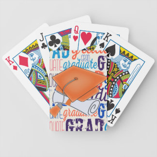 Bright Orange Graduation Cap and Diploma Bicycle Playing Cards